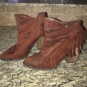 Shoes - Not Rated Maroon Fringe Booties